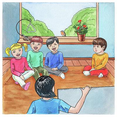 Painting - Singing In The Class Book Illustration by Irina Sztukowski