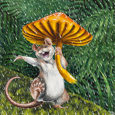 Toadstools Painting - Singing In The Rain by Beth Davies