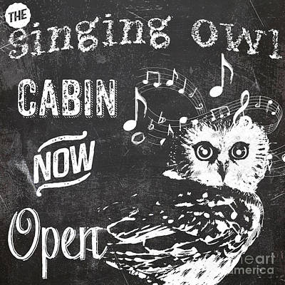 Owl Painting - Singing Owl Cabin Rustic Sign by Mindy Sommers