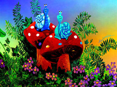 Toadstools Painting - Singing Snail by Hanne Lore Koehler