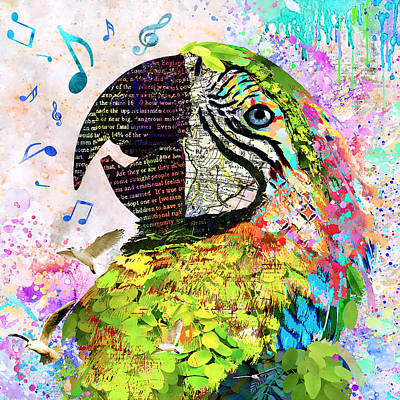 Macaw Mixed Media - Singing The Blues - Macaw by Stacey Chiew