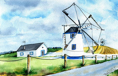 Painting - Singing Windmill In Portugal by Dora Hathazi Mendes