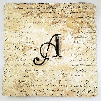 Mixed Media - Single A Monogram Tile Coaster With Script by Angela Rath