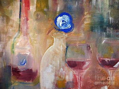 Wine Painting - Single Blue And Looking by Lisa Kaiser