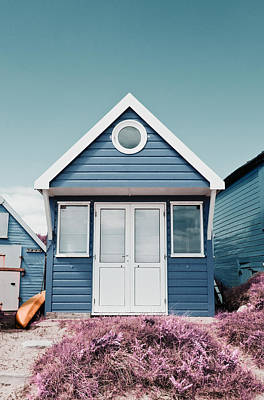 Photograph - Single Blue Beach Hut by Mick House