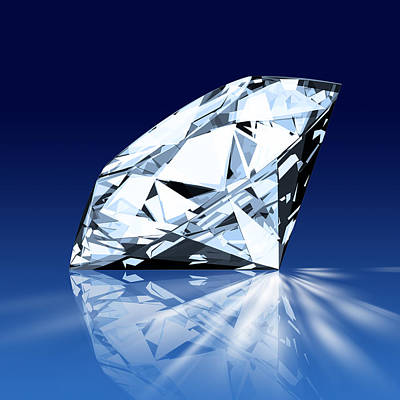 Glowing Photograph - Single Blue Diamond by Setsiri Silapasuwanchai
