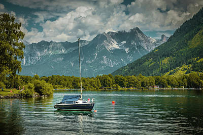 Photograph - Single Boat Moored On Lake Zeller Zellam See Austria by Alex Saunders