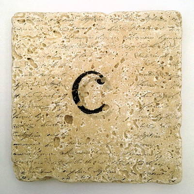 Mixed Media - Single C Monogram Tile Coaster With Script by Angela Rath