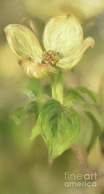 Art Print featuring the digital art Single Dogwood Blossom In Evening Light by Lois Bryan