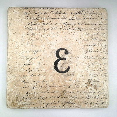Mixed Media - Single E Monogram Tile Coaster With Script by Angela Rath