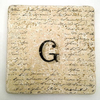 Mixed Media - Single G Monogram Tile Coaster With Script by Angela Rath