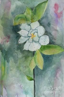 Painting - Single Gardenia  by Barrie Stark