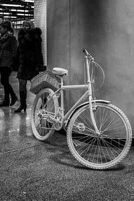 Photograph - Single God White Bike Abstract In Monochrome by John Williams