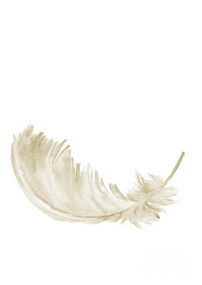 Library Painting - Single Gold Feather Lying Upright by Joanna Szmerdt