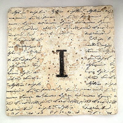 Mixed Media - Single I Monogram Tile Coaster With Script by Angela Rath