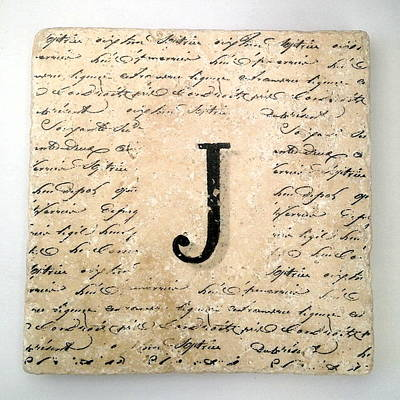 Mixed Media - Single J Monogram Tile Coaster With Script by Angela Rath