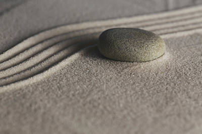 Photograph - Single Meditation Stone On Flowing Sand Number 1 Color by Andrew Pacheco