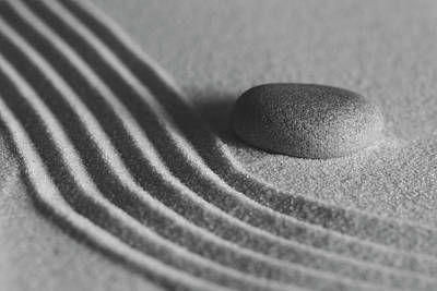 Photograph - Single Meditation Stone On Flowing Sand Number 2 Black And White by Andrew Pacheco
