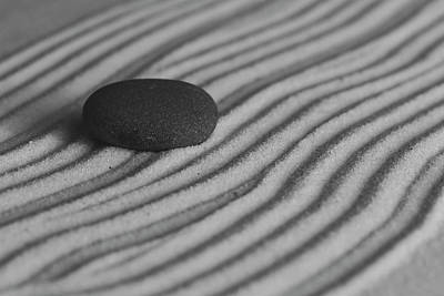 Photograph - Single Meditation Stone On Flowing Waves Of Sand Black And White by Andrew Pacheco