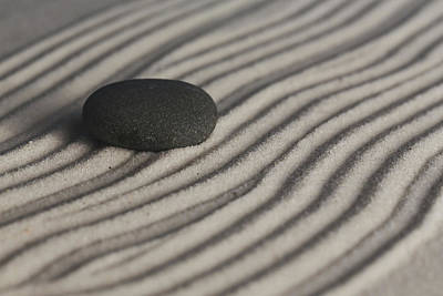 Photograph - Single Meditation Stone On Flowing Waves Of Sand Color by Andrew Pacheco