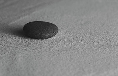 Photograph - Single Meditation Stone On Smooth Sand Black And White by Andrew Pacheco