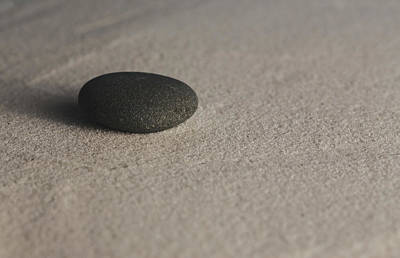 Photograph - Single Meditation Stone On Smooth Sand Color by Andrew Pacheco