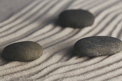 Photograph - Single Meditation Stones On Flowing Sand Color by Andrew Pacheco