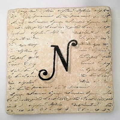 Mixed Media - Single N Monogram Tile Coaster With Script by Angela Rath