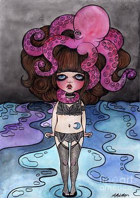 Mixed Media - Single Night With The Octopus by Akiko Okabe