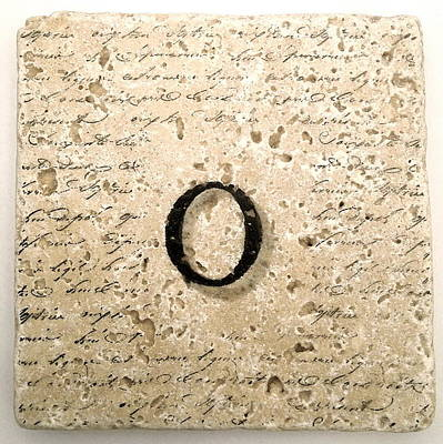 Mixed Media - Single O Monogram Tile Coaster With Script by Angela Rath