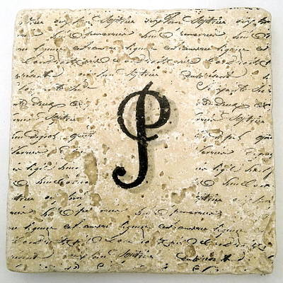 Mixed Media - Single P Monogram Tile Coaster With Script by Angela Rath