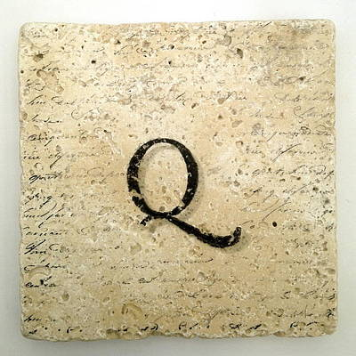Mixed Media - Single Q Monogram Tile Coaster With Script by Angela Rath