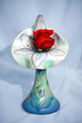 Single Red Rose Bud In Fenton Vase Original by Linda Phelps