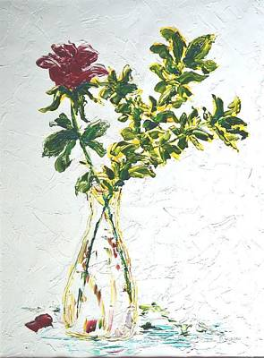 Painting - Single Red Rose by Lynda Cookson
