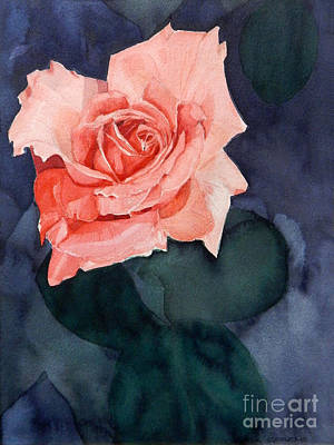 Painting - Watercolor Of A Magic Bright Single Red Rose by Greta Corens