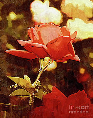 Digital Art - Single Rose Bloom In Gothic by Kirt Tisdale