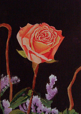 Painting - Single Rose by Quwatha Valentine