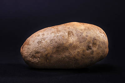 Single Russet Potato On Black  Background Art Print