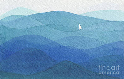 Popstar And Musician Paintings Royalty Free Images - Single sail in a big ocean Royalty-Free Image by Ewa Hearfield