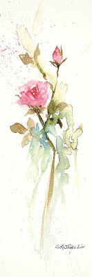 Print featuring the painting Single Stem by Sandra Strohschein
