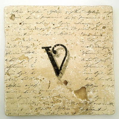 Mixed Media - Single V Monogram Tile Coaster With Script by Angela Rath