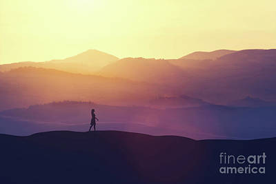 Photograph - Single Woman Walking On The Hill During Sunset. by Michal Bednarek