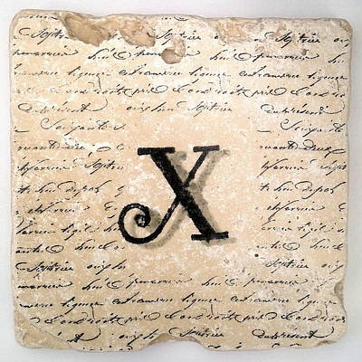 Mixed Media - Single X Monogram Tile Coaster With Script by Angela Rath