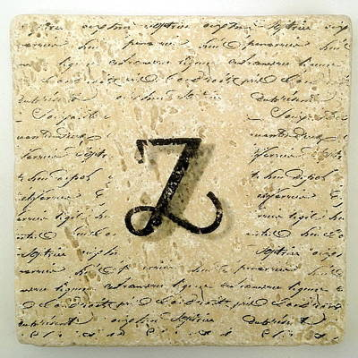 Mixed Media - Single Z Monogram Tile Coaster With Script by Angela Rath