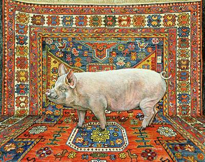 Persian Carpet Painting - Singleton Carpet Pig by Ditz