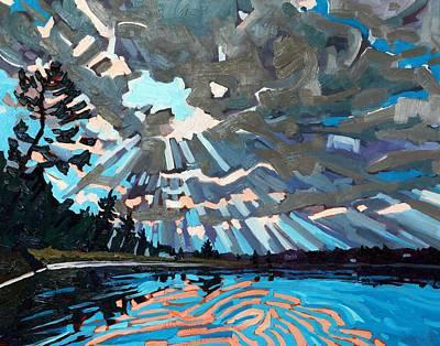 Sun Rays Painting - Singleton Setting Sun by Phil Chadwick