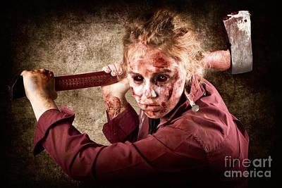 Sinister Zombie Axe Murderer. A Grunge Death Art Print by Jorgo Photography - Wall Art Gallery