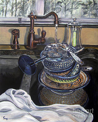 Pottery Sinks Painting - Sink Full Polish Pottery L by Heather Sims