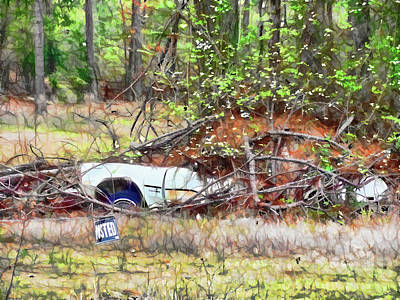 Old Junk Car Painting - Sinking Abandoned Car by Lanjee Chee