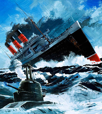 Sinking Of The Lusitania Art Print by English School